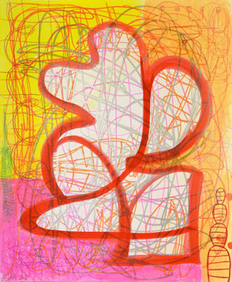 Yellow and pink wall art with orange and white form and energy lines throughout