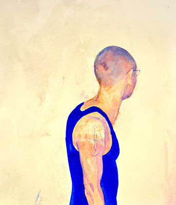 Blue wall art, original watercolor of a man wearing a blue tank shirt