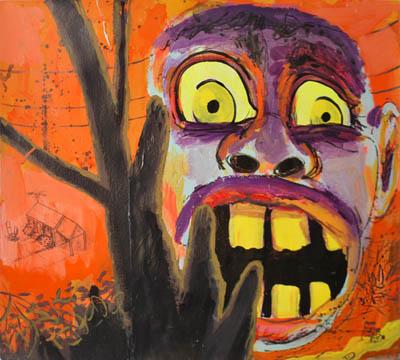 Cartoon retro pop art wall decor in orange and black