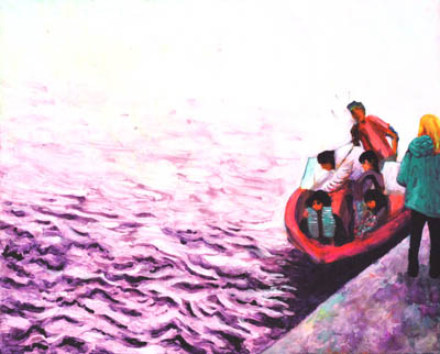 Original painting of a family preparing to disembark on a purple sea