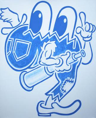 Cartoon retro pop wall art decor in blue and white