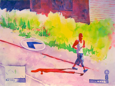Red man runs past a red yard, red wall art for you to love