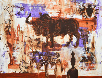 Abstract brown white wall art, flying bull, tree, man, original abstract wall decor on canvas