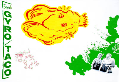 Cartoon retro pop art wall decor painting in green yellow red white black suggesting a religious motif