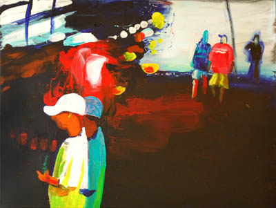 In black night amid red brake lights he swigs a beer, the best painting of a party at night