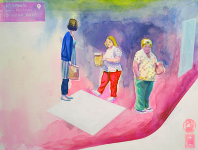 Original art showing nurses waiting for a bus