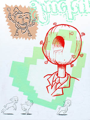 Cartoon retro pop wall art decor in red green white