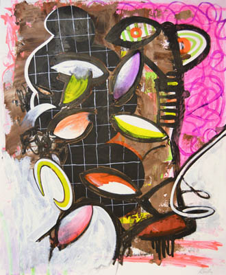 Many fruits in pink and brown pastel and paint, original