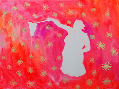 She stands in red amid gold stars, she dreams, she speaks, original art and the best painting