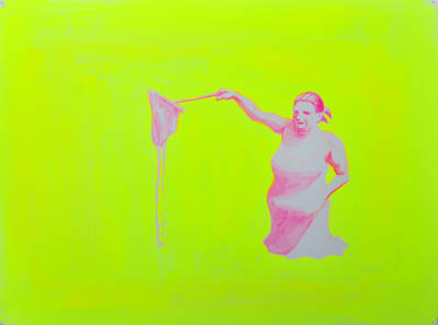 Yellow wall art showing a woman in pink reaching forward