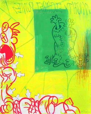 Pop wall art in cartoon retro painting style with fluorescent yellow, green, and red
