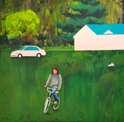 She rides through the grass in this original painting for sale