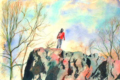 The best painting of a boy in red standing on a giant boulder.